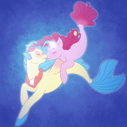 Size: 1000x1000 | Tagged: safe, artist:flower-power-love, pinkie pie, princess skystar, earth pony, seapony (g4), my little pony: the movie, bioluminescent, blue background, eyes closed, female, fin wings, fins, fish tail, flower, flower in hair, flowing mane, flowing tail, freckles, jewelry, lesbian, looking at each other, necklace, nuzzling, ocean, pearl necklace, seaponified, seapony pinkie pie, shipping, simple background, skypie, smiling, species swap, swimming, tail, underwater, water, wings