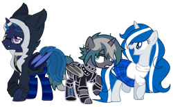Size: 3537x2177 | Tagged: safe, artist:cosmicwitchadopts, artist:midnightamber, artist:oyks, derpibooru exclusive, oc, oc only, oc:balmoral, oc:elizabrat meanfeather, oc:icey wicey, alicorn, bat pony, bat pony alicorn, pony, unicorn, 2021 community collab, derpibooru community collaboration, alicorn oc, bat pony oc, bat wings, boots, bullet, choker, clone, clothes, collar, ear piercing, earring, female, fingerless gloves, glasses, gloves, hoodie, horn, horn ring, jacket, jewelry, kilt, leather jacket, lip piercing, male, mare, nation ponies, open mouth, piercing, ponified, ponysona, raised hoof, raised leg, ring, scotland, shirt, shoes, simple background, socks, spiked choker, stallion, striped socks, sweater, transparent background, trio, wings
