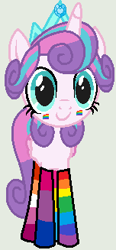 Size: 152x327 | Tagged: safe, artist:jadethepegasus, artist:nsmah, princess flurry heart, alicorn, pony, base used, bisexual pride flag, clothes, crown, cute, face paint, female, flurrybetes, gay pride flag, gray background, jewelry, lesbian pride flag, mare, mismatched socks, older, older flurry heart, pansexual pride flag, pride, pride flag, rainbow socks, regalia, simple background, socks, solo, striped socks