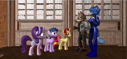 Size: 1280x606   Tagged: safe, artist:hectorny, starlight glimmer, sunset shimmer, twilight sparkle, pony, anthro, 3d, crossover, fox mccloud, krystal, source filmmaker, star fox