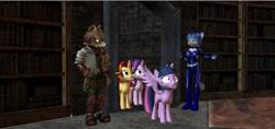 Size: 1280x605   Tagged: safe, artist:hectorny, starlight glimmer, sunset shimmer, twilight sparkle, fox, pony, anthro, crossover, fox mccloud, krystal, star fox