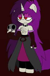 Size: 1336x2048 | Tagged: safe, artist:tenebrousmelancholy, oc, oc:nightgrave, unicorn, anthro, unguligrade anthro, clothes, digital art, goth, holding, male, simple background, skull, solo, solo male, wip