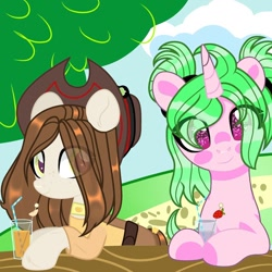 Size: 1080x1080 | Tagged: safe, artist:lacey.wonder, oc, oc only, earth pony, pony, unicorn, belt, bust, clothes, colored hooves, cup, drink, duo, earth pony oc, eye clipping through hair, female, hairband, hat, horn, mare, outdoors, pants, smiling, starry eyes, tree, unicorn oc, wingding eyes