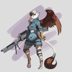 Size: 3000x3000 | Tagged: safe, artist:nsilverdraws, oc, oc:vermilion brightwing, griffon, anthro, griffon oc, gun, weapon