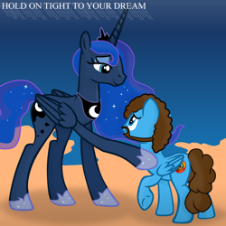 Size: 2000x2000 | Tagged: safe, artist:grapefruitface1, princess luna, oc, oc:electric light (jeff lynne pony), alicorn, pegasus, pony, anatomically incorrect, base used, comforting, dream, dream walker luna, electric light orchestra, elo, equestria light orchestra, female, hold on tight, incorrect leg anatomy, jeff lynne, male, mare, music, musician, parody, remake, science fiction, song reference, stallion, time travel