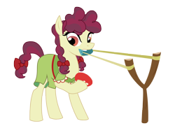 Size: 4522x3497 | Tagged: safe, artist:three uncle, hilly hooffield, earth pony, pony, the hooffields and mccolts, background pony, biting, bow, clothes, female, food, hair bow, hooffield family, mare, pigtails, simple background, slingshot, solo, tomato, transparent background, vector