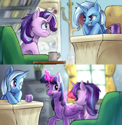 Size: 1920x1974 | Tagged: safe, artist:not-ordinary-pony, derpibooru exclusive, starlight glimmer, trixie, twilight sparkle, alicorn, pony, unicorn, fanfic:the nemesis, 2 panel comic, comic, commission, female, illustration, mare, trio, twilight sparkle (alicorn)