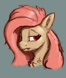 Size: 1746x2048   Tagged: safe, artist:dummyhorse, fluttershy, bat pony, pony, bat ponified, bust, chest fluff, ear fluff, fangs, female, flutterbat, lidded eyes, looking at you, mare, portrait, race swap, red eyes, solo, three quarter view