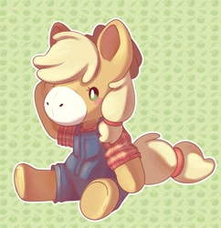 Size: 657x680 | Tagged: safe, artist:cutepencilcase, applejack, semi-anthro, animal crossing, applebetes, blush sticker, blushing, clothes, crossover, cute, doll, female, jackabetes, overalls, plushie, shirt, sitting, solo, toy