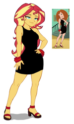 Size: 558x938 | Tagged: safe, artist:nairdags, edit, sunset shimmer, equestria girls, black dress, bracelet, clothes, dress, ear piercing, earring, feet, hand on hip, high heels, jewelry, kim possible, little black dress, open-toed shoes, picture in picture, piercing, screencap reference, shoes, simple background, solo, stupid sexy sunset shimmer, toes, white background