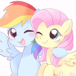 Size: 1628x1634 | Tagged: safe, artist:arrow__root, fluttershy, rainbow dash, pegasus, pony, blushing, cute, duo, female, mare, one eye closed, open mouth, simple background, white background, wink