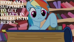 Size: 1920x1080   Tagged: safe, edit, edited screencap, editor:quoterific, screencap, rainbow dash, pegasus, pony, testing testing 1-2-3, book, confused, female, golden oaks library, solo, text