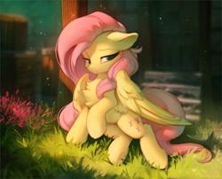 Size: 1280x1036   Tagged: safe, artist:hioshiru, fluttershy, pegasus, pony, chest fluff, crepuscular rays, cute, floppy ears, solo