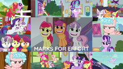 Size: 1972x1110   Tagged: safe, edit, edited screencap, screencap, apple bloom, big macintosh, cozy glow, fluttershy, pinkie pie, rarity, scootaloo, silverstream, starlight glimmer, sugar belle, sweetie belle, twilight sparkle, alicorn, earth pony, hippogriff, pegasus, pony, unicorn, marks for effort, :i, bipedal, bow, chickadee (bird), cutie mark crusaders, evil grin, eyes closed, female, filly, glowing horn, grin, horn, house finch, i mean i see, magic, magic aura, male, open mouth, purple martin, shipping, smiling, stack, straight, sugarmac, twilight sparkle (alicorn)
