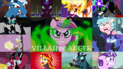 Size: 1974x1111 | Tagged: safe, edit, edited screencap, editor:quoterific, screencap, cozy glow, daybreaker, discord, grogar, king sombra, lord tirek, nightmare moon, queen chrysalis, starlight glimmer, storm king, sunset shimmer, tempest shadow, alicorn, changeling, changeling queen, draconequus, human, pegasus, pony, unicorn, a canterlot wedding, a royal problem, equestria girls, equestria girls (movie), my little pony: the movie, school raze, the beginning of the end, the cutie map, the ending of the end, the return of harmony, twilight's kingdom, angry, antagonist, disguise, disguised changeling, fake cadance, female, filly, open mouth