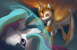 Size: 7000x4583 | Tagged: safe, artist:auroriia, daybreaker, princess celestia, alicorn, pony, a royal problem, armor, duo, female, flying, force field, mare, swapped cutie marks