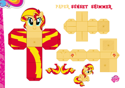 Size: 2048x1447 | Tagged: safe, artist:dashiesparkle edit, artist:grapefruitface1, sunset shimmer, pony, unicorn, base used, craft, custom, irl, papercraft, photo, printable, solo, toy