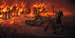 Size: 1280x656 | Tagged: safe, artist:wonderblue, oc, oc only, armor, armored pony, burning, commission, evil, fire, fireplace