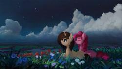 Size: 2560x1440 | Tagged: safe, artist:quvr, pinkie pie, oc, oc:serena mist, earth pony, pony, unicorn, canon x oc, cloud, female, flower, lying down, mare, night, prone, scenery, stars