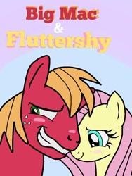 Size: 768x1024 | Tagged: safe, artist:hectorlongshot, big macintosh, fluttershy, earth pony, pegasus, pony, blushing, female, fluttermac, male, mare, shipping, stallion, straight