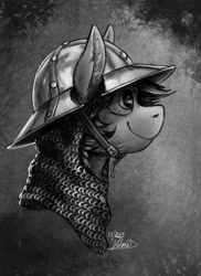 Size: 960x1317 | Tagged: safe, artist:helmie-d, pony, abstract background, armor, bust, chainmail, ear fluff, helmet, portrait, profile, smiling, solo