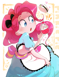 Size: 1926x2500 | Tagged: safe, artist:nendo, pinkie pie, coinky-dink world, eqg summertime shorts, equestria girls, clothes, cupcake, dress, female, food, nendo is trying to murder us, open mouth, server pinkie pie, solo, waitress