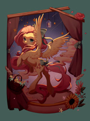 Size: 2249x3000 | Tagged: safe, artist:leafywind, fluttershy, pegasus, pony, basket, bow, curtains, cute, female, flower, hair bow, jar, mare, shyabetes, solo, spread wings, stars, tail bow, wings
