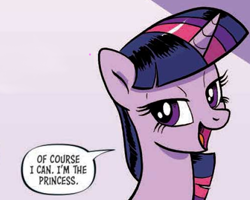 Size: 500x400 | Tagged: safe, artist:pencils, twilight sparkle, alicorn, pony, spoiler:comic, spoiler:comic94, cropped, female, it's good to be princess, mare, open mouth, reaction image, royalty, season 10, solo, speech bubble, twilight sparkle (alicorn)