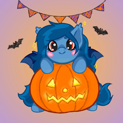 Size: 1920x1920   Tagged: safe, artist:tavachan, oc, oc only, oc:tazzee, bat pony, bat pony oc, bat wings, blush sticker, blushing, c:, commission, gradient background, halloween, holiday, jack-o-lantern, pumpkin, simple background, smiling, solo, wings, ych result