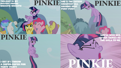 Size: 2000x1125 | Tagged: safe, edit, edited screencap, editor:quoterific, screencap, carrot top, golden harvest, parasol, pinkie pie, twilight sparkle, earth pony, pony, unicorn, the ticket master, crossed arms, eyes closed, open mouth, song, twilight is not amused, unamused, unicorn twilight, yelling