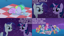 Size: 1986x1117 | Tagged: safe, edit, edited screencap, editor:quoterific, screencap, apple bloom, applejack, fluttershy, pinkie pie, rainbow dash, rarity, scootaloo, spike, sweetie belle, twilight sparkle, dragon, earth pony, pegasus, pony, unicorn, owl's well that ends well, apple, applejack's hat, bow, cowboy hat, cutie mark crusaders, eyes closed, female, filly, food, hat, joke, mane seven, mane six, night, open mouth, picnic blanket, pun, punch (drink), punch bowl, sleeping, unicorn twilight