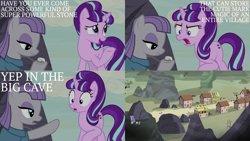 Size: 2000x1125 | Tagged: safe, edit, edited screencap, editor:quoterific, screencap, boulder (pet), maud pie, starlight glimmer, earth pony, pony, unicorn, rock solid friendship, the cutie map, angry, construction, open mouth, our town, rock, s5 starlight