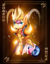 Size: 1920x2444 | Tagged: safe, artist:zidanemina, bon bon, sweetie drops, absurd resolution, anime crossover, aries, armor, black background, crossover, gold, gold saint, looking at you, saint seiya, simple background, solo, zodiac