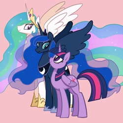 Size: 2048x2048 | Tagged: safe, artist:pfeffaroo, part of a set, princess celestia, princess luna, twilight sparkle, alicorn, pony, female, flowing mane, folded wings, height difference, high res, hoof shoes, jewelry, line-up, looking at each other, looking at someone, looking down, looking up, mare, peytral, pink background, profile, regalia, simple background, size difference, smiling, spread wings, standing, trio, twilight sparkle (alicorn), wings