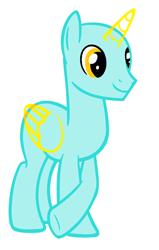 Size: 1248x1960 | Tagged: safe, artist:amelia-bases, oc, oc only, alicorn, pony, alicorn oc, bald, base, horn, male, raised hoof, simple background, smiling, solo, stallion, underhoof, white background, wings