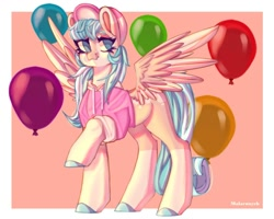 Size: 1000x800 | Tagged: safe, artist:malarunych, oc, oc only, pegasus, pony, balloon, clothes, pegasus oc, solo, wings