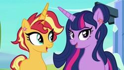 Size: 1080x608   Tagged: safe, artist:frisk.mlp, sunset shimmer, twilight sparkle, alicorn, pony, unicorn, alternate hairstyle, duo, ear clip, eyelashes, female, lesbian, mare, open mouth, outdoors, shipping, sunsetsparkle, twilight sparkle (alicorn)