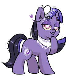 Size: 870x951 | Tagged: safe, artist:paperbagpony, oc, oc:lenore, unicorn, curved horn, goth, horn, jewelry, makeup, simple background, unicorn oc, white background