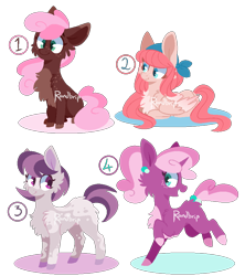 Size: 800x900 | Tagged: safe, artist:randbrip, oc, oc only, earth pony, pegasus, pony, unicorn, bandana, cheek fluff, chest fluff, ear piercing, earring, female, fluffy, freckles, head turn, jewelry, lying down, mare, offspring, parent:big macintosh, parent:cheerilee, parent:fluttershy, parent:marble pie, parent:sugar belle, parents:cheerimac, parents:fluttermac, parents:marblemac, parents:sugarmac, piercing, prancing, prone, simple background, sitting, standing, transparent background, watermark
