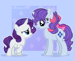 Size: 1281x1041 | Tagged: safe, artist:angellight-bases, artist:importantgreatwake, artist:pigeorgien, rarity, sparkler (g1), pony, unicorn, base used, bow, cute, female, filly, filly rarity, foal, g1, g1 to g4, generation leap, looking at each other, raribetes, sad, smiling, tail bow, younger