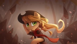Size: 2800x1600 | Tagged: safe, artist:emeraldgalaxy, applejack, earth pony, pony, abstract background, braid, clothes, eye clipping through hair, eyebrows visible through hair, female, hat, looking at you, mare, scarf, shirt, solo, standing, windswept mane