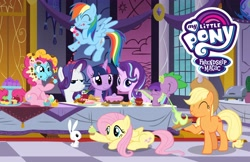 Size: 4096x2650   Tagged: safe, angel bunny, applejack, fluttershy, pinkie pie, rainbow dash, rarity, spike, starlight glimmer, twilight sparkle, alicorn, dragon, earth pony, pegasus, rabbit, unicorn, official, alternate mane seven, animal, apple, apple fritter (food), apple pie, cake, cherry, cookie, cupcake, eating, fire, fire breath, fire breathing, food, fritter, green fire, mane seven, mane six, messy eating, my little pony logo, pie, rarity is not amused, twilight sparkle (alicorn), unamused
