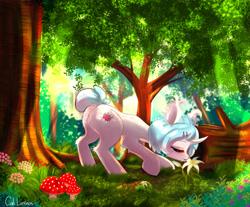 Size: 2911x2409 | Tagged: safe, artist:cali luminos, oc, pony, unicorn, curved horn, eyes closed, flower, horn, mushroom, scenery, smelling