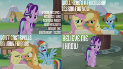 Size: 2000x1125 | Tagged: safe, edit, edited screencap, editor:quoterific, screencap, applejack, fluttershy, rainbow dash, starlight glimmer, earth pony, pegasus, pony, unicorn, every little thing she does, angry, applejack's hat, covering ears, cowboy hat, hat, messy mane, tired, tired eyes