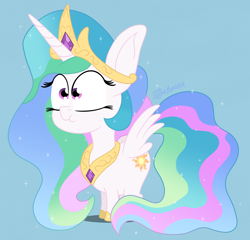 Size: 3000x2880 | Tagged: safe, artist:puperhamster, princess celestia, pony, unicorn, chibi, female, mare, simple background, solo, wings
