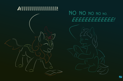 Size: 950x629 | Tagged: safe, artist:quint-t-w, autumn blaze, oc, oc:turbulence, bat pony, kirin, pony, bat pony oc, book, ear tufts, eeee, eyes closed, fangs, gradient background, minimalist, modern art, sitting, talking, underhoof