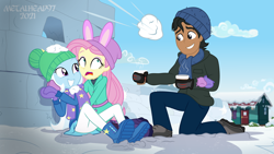 Size: 8000x4500 | Tagged: safe, artist:metalhead97, fluttershy, trixie, oc, oc:calypso kiosko, equestria girls, equestria girls series, holidays unwrapped, saving pinkie's pie, spoiler:eqg series (season 2), boots, chocolate, clothes, coat, commission, cup, cute, diatrixes, food, hat, hot chocolate, kneeling, open mouth, scared, scarf, shoes, show accurate, smiling, snow, snowball, snowball fight, sweater, this will not end well, warmers