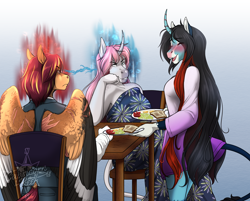 Size: 3172x2554 | Tagged: safe, artist:blackblood-queen, oc, oc only, oc:annie belle, oc:rosie quartz, oc:sunstreak, dracony, dragon, hybrid, pegasus, unicorn, anthro, unguligrade anthro, anthro oc, bread, chair, cousins, curved horn, digital art, egg, fangs, female, food, friends, glare, gradient background, horn, leonine tail, long mane, looking at each other, male, mare, open mouth, pegasus oc, scar, smiling, stallion, story in the source, table, toast, unicorn oc