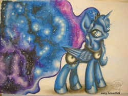 Size: 604x453 | Tagged: safe, artist:maryhoovesfield, princess luna, alicorn, pony, crown, ethereal mane, ethereal tail, female, galaxy mane, galaxy tail, hoof shoes, jewelry, mare, peytral, regalia, solo, starry mane, starry tail, tiara, traditional art
