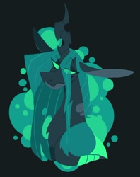 Size: 742x939 | Tagged: safe, artist:rockin_candies, queen chrysalis, changeling, changeling queen, abstract background, black background, female, horn, simple background, slit eyes, smiling, solo
